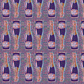 champagne bottles colored dots half drop repeat