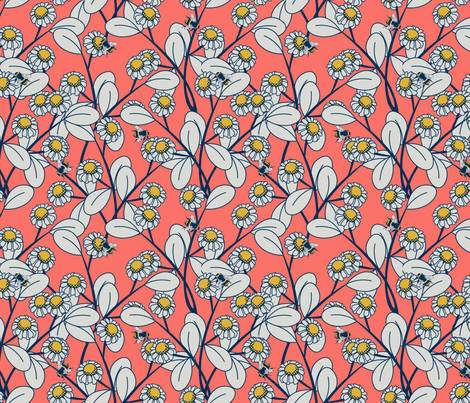 bees and flowers fabric by glimmericks on Spoonflower - custom fabric