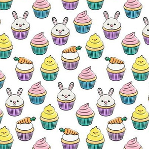 (small scale) Easter cupcakes - bunny chicks carrots spring sweets - white with pink LAD19CBS