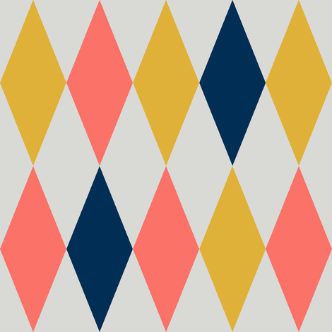 Harlequin diamonds - coral, midnight blue and goldenrod on pale grey fabric by weavingmajor on Spoonflower - custom fabric