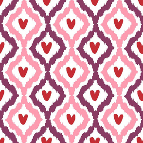 purple pink red heart ikat
