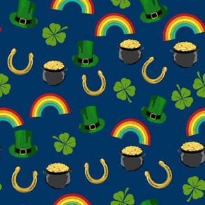 st patricks day fabric - leprechaun fabric, pot of gold, lucky fabric, luck of the irish fabric, rainbow fabric - navy