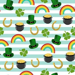 st patricks day fabric - leprechaun fabric, pot of gold, lucky fabric, luck of the irish fabric, rainbow fabric - stripes