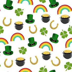 st patricks day fabric - leprechaun fabric, pot of gold, lucky fabric, luck of the irish fabric, rainbow fabric - white
