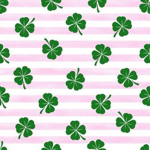 clover fabric - irish fabric, lucky clover fabric, st patricks day fabric, - pink stripes
