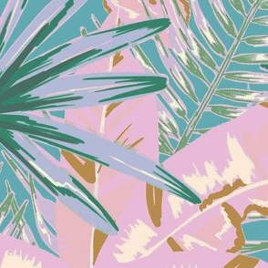 Pink banana leaves