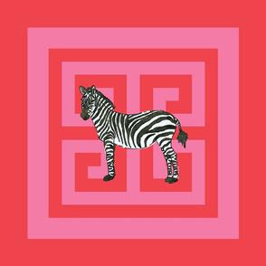 "Zebra Greek Key Valentine 20"" Pillow Squares"