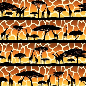 Giraffe Sunset Safari Silhouettes (Large Scale)