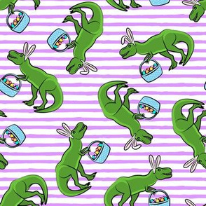 Easter Trex - toss on purple stripes LAD19