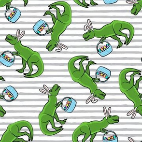 Easter Trex - toss on grey stripes  LAD19