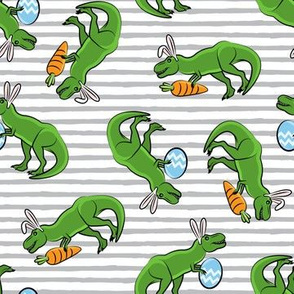 Easter Trex (carrot and Easter egg) - toss on grey stripes LAD19