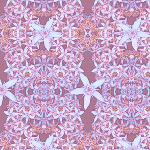 Jade Plant Flowers Pattern in Dusty Rose