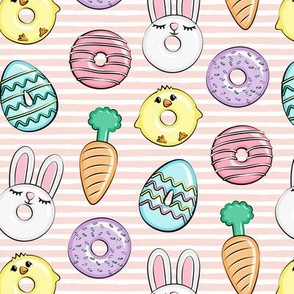 easter donuts - bunnies, chicks, carrots, eggs - easter fabric - pink stripes LAD19