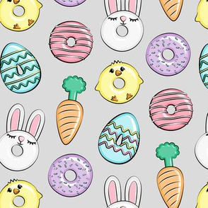 easter donuts - bunnies, chicks, carrots, eggs - easter fabric - grey LAD19