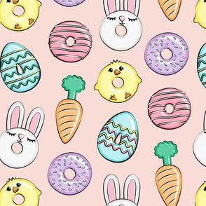 easter donuts - bunnies, chicks, carrots, eggs - easter fabric - pink  LAD19