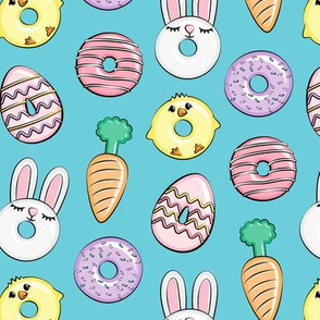 easter donuts - bunnies, chicks, carrots, eggs - easter fabric - blue LAD19