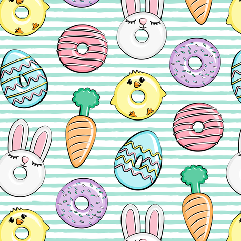easter donuts - bunnies, chicks, carrots, eggs - easter fabric - aqua stripes LAD19 fabric by littlearrowdesign on Spoonflower - custom fabric