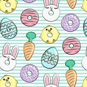 easter donuts - bunnies, chicks, carrots, eggs - easter fabric - aqua stripes LAD19