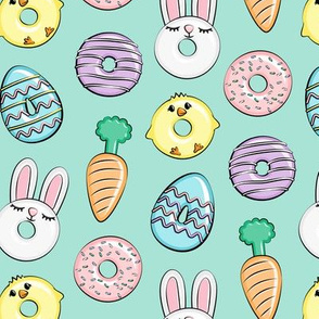 easter donuts - bunnies, chicks, carrots, eggs - easter fabric - aqua LAD19