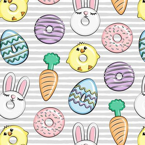 easter donuts - bunnies, chicks, carrots, eggs - easter fabric - grey stripes LAD19