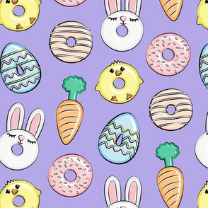 easter donuts - bunnies, chicks, carrots, eggs - easter fabric - purple LAD19