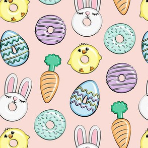 easter donuts - bunnies, chicks, carrots, eggs - easter fabric - pink with purple LAD19