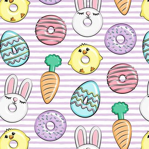 easter donuts - bunnies, chicks, carrots, eggs - easter fabric - purple stripes LAD19