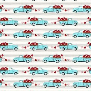 (micro scale) light blue vintage truck with hearts - valentines day - grey stripes C19BS