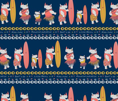 surfing rhino stripes limited fabric by pamelachi on Spoonflower - custom fabric
