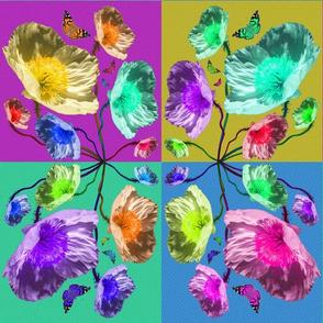 Pop Art Poppy and Butterfly Tiles