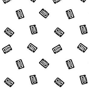 Cassette Tape Toss in Black and White