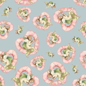 cupids on pastel gray background