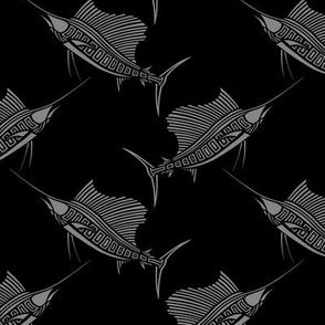Silver on Black Sailfish Small