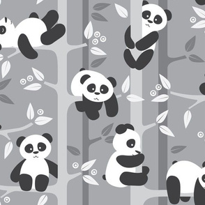 panda forest - gray