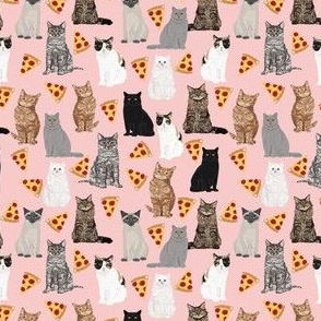 SMALL - cats pizza fabric cute cat lady design pizza food fabrics funny cat lady fabric cute cat fabrics with pizzas