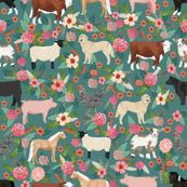 farm yard floral - with golden retrievers, cow, horse, goat, chicken, sheep, golden retrievers - dark