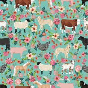 farm yard floral - with golden retrievers, cow, horse, goat, chicken, sheep, golden retrievers - light