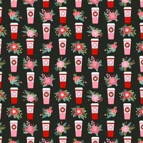 valentines coffee cup fabric - mini size
