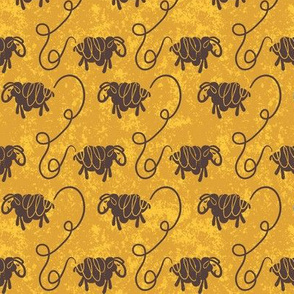 Interconnected Sheep on distressed mustard