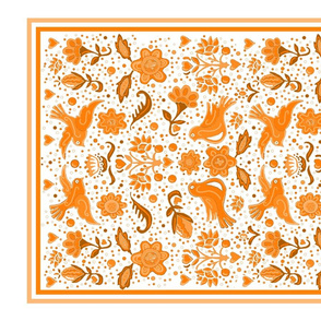Folk art tea towel orange