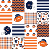 football bears quilt - cheater quilt fabric, football fabric, boys fabric, fan fabric, american football quilt