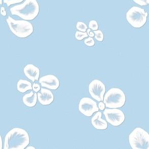 Soft Frangipani Lace on Blue