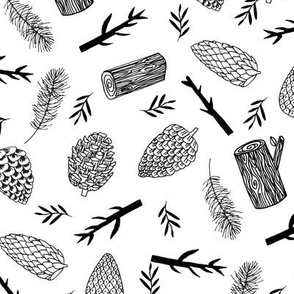 pinecones and sticks, logs, outdoors, fabric - black and white