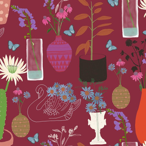 Romantic Botanic Large –  Maroon