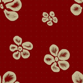 Soft Frangipani Lace on Red   Attic Enigma