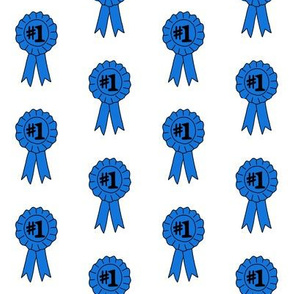 blue ribbon number one  fabric - best in show fabric, winner fabric, best pie, best horse, best dog, dog show - white classic