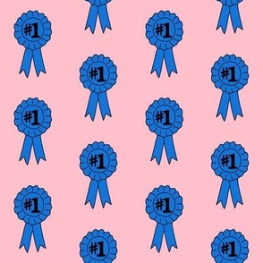 blue ribbon number one  fabric - best in show fabric, winner fabric, best pie, best horse, best dog, dog show - pink and blue