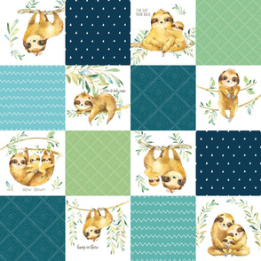 Sloth Cheater Quilt – Patchwork Blanket Baby Boy Bedding, Teal Blue Green, Design GL