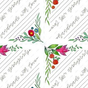Quilt Label Corner Watercolor Flowers