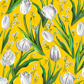 Big White Tulips + Baby's Breath   Yellow, Green